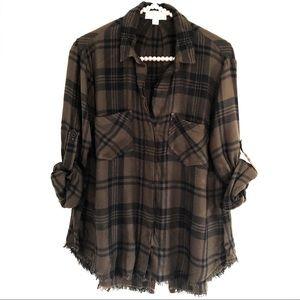 CLOTH & STONE|Plaid Split-Back Raw Hem Button Down